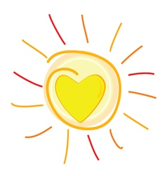 sun and heart in center vector image