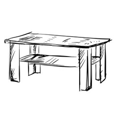 table drawing on white background vector image