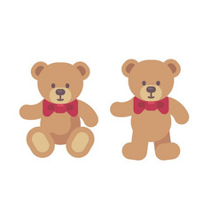 Teddy bear sitting and standing flat christmas vector