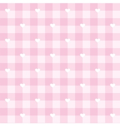 Tile pink plaid pattern with white hearts vector image