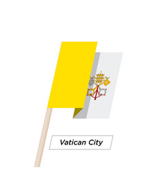Vatican city ribbon waving flag isolated on white vector