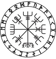 vegvisir magic navigation compass ancient vector image