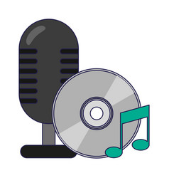 Vintage microphone and music cd rom vector