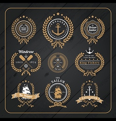 Vintage nautical wreath labels set on dark wood vector image