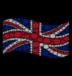 waving british flag mosaic of globe icons vector image