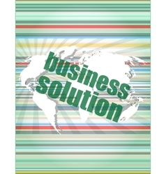 Words business solution on digital screen vector