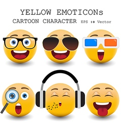yellow emoticon vector image