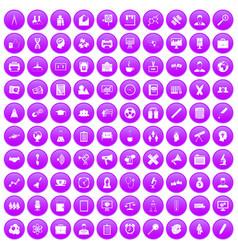 100 seminar icons set purple vector