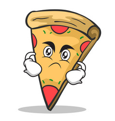 angry face pizza character cartoon vector image