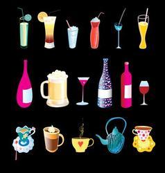 beverages in bottles glasses and mugs vector image