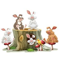 Five rabbits sitting on log vector image