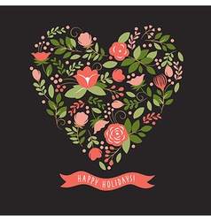 floral heart on a black background vector image vector image