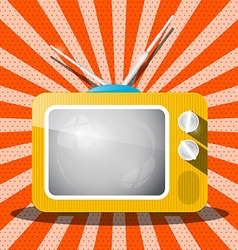 Retro Television TV Cartoon on Red Background Flat vector image