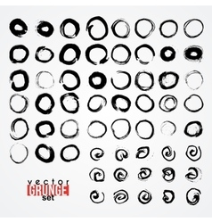 Set of grunged traced circles by painbrush and ink vector image vector image
