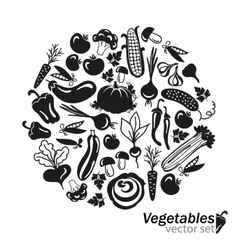 vegetables black icons on white background vector image vector image