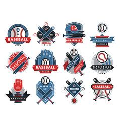 baseball logo badge sport team or club vector image