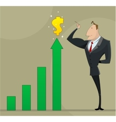 Businessman with business growing graph vector image vector image