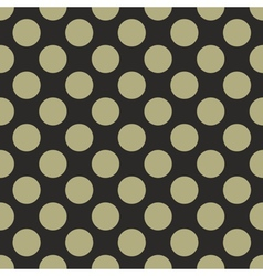 Tile pattern green polka dots on black background vector image