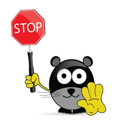 sweet and cute mouse with sign stop vector image vector image