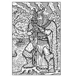 Viking or sea king engraved fantasy vector