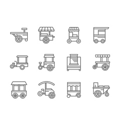 Wheel shops black line icons vector image vector image