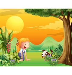 A girl playing with a dog vector image vector image