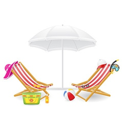 beach chairs and parasol 02 vector image vector image
