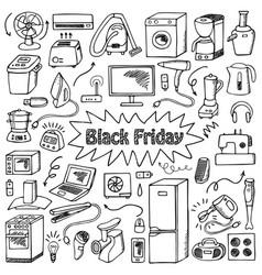 Black friday household doodle set vector