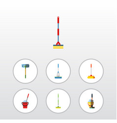 Flat icon mop set of equipment mop besom and vector