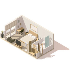 isometric low poly hotel room icon vector image