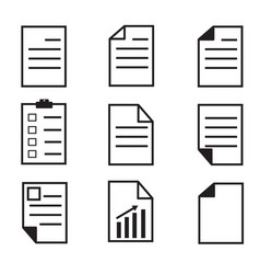 paper icon on white background set paper icon vector image