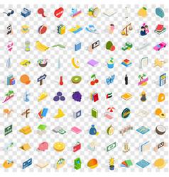 100 happy icons set isometric 3d style vector