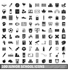 100 junior school icons set simple style vector