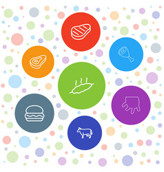 7 beef icons vector