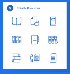 9 book icons vector image