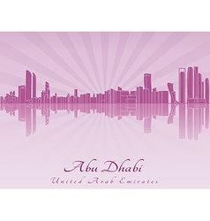 Abu Dhabi skyline in radiant orchid vector