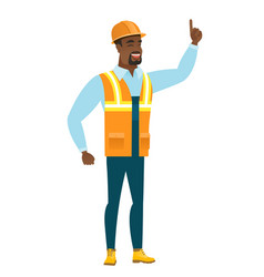 african builder pointing with his forefinger vector image