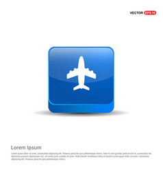 airplane icon - 3d blue button vector image