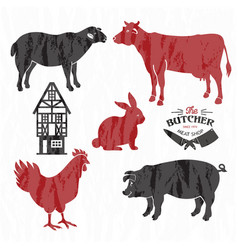 Animal farm set cut beef pork lamb chicken vector