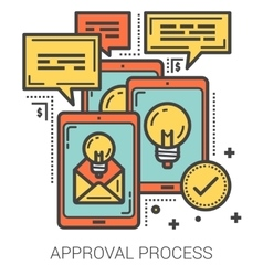 Approval process line infographic vector