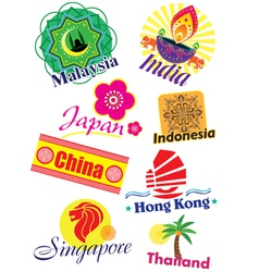 Asia country travel icon set vector image