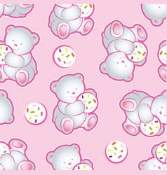 baby bear pink pattern vector image