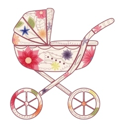 Baby carriage for girl vector