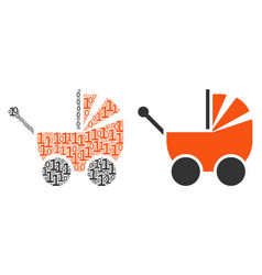 Baby carriage mosaic of binary digits vector