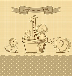 baby shower card with retro toys vector image