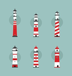 Beach lighthouse set vector