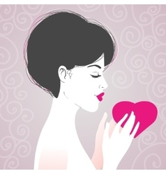 Beautiful woman with heart symbol of love vector image vector image