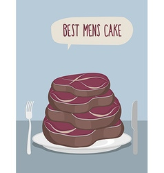 Best mens cake cake of steaks pieces of meat in vector