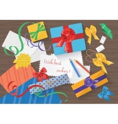 Birthday and Christmas holidays wrapped gift vector image