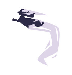 black silhouette witch flying on broomstick vector image